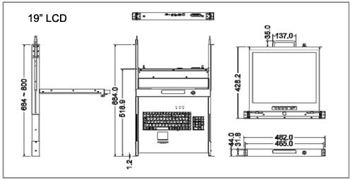 1u cat5 kvm over ip rackmount 19 u0026quot  lcd  u0026 keyboard drawer i