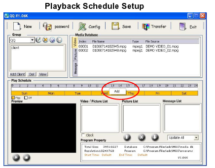 Playback Schedule Setup