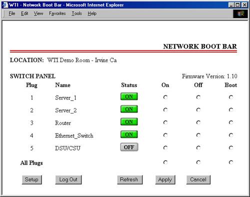 Plug Status Screen