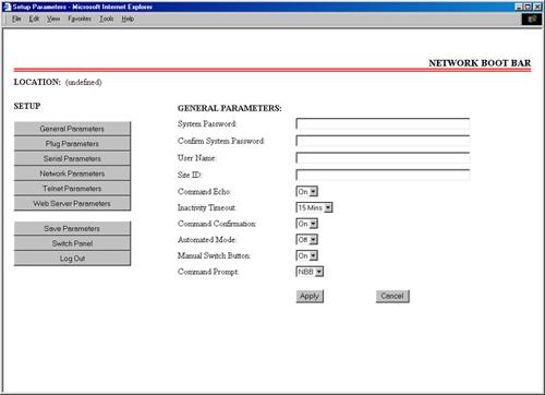 Parameters Screen