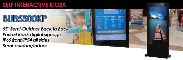 "55"" Semi-Outdoor Back to Back Portrait Kiosk Digital signage IP65 front/IP54 all sides Semi-outdoor/Indoor (Model: BUB5500KP)"
