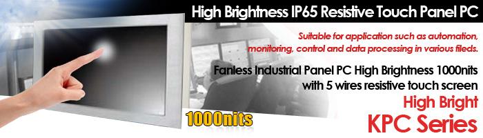 High Brightness IP65 Resistive Touch Panel PC KPC Series