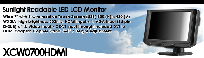 """Wide 7"""" with 5-wire resistive Touch Screen Copper Stand: 360° / Height Adjustment (Model: XCW0700HDMI)"""